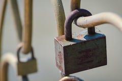 Closeup of a big padlock stock images