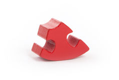 Closeup of big red jigsaw puzzle piece Royalty Free Stock Image