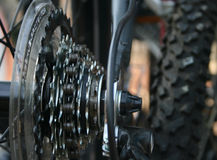 Closeup of Bike Gears. Closeup view of bicycle gears, chain and tire royalty free stock images