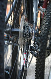 Closeup of Bike Gears. Closeup view of bicycle gears, chain and tire stock image