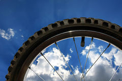 Closeup of bike wheel Stock Photography