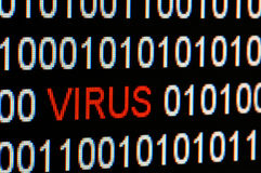 Closeup of binary code infected by virus. Stock Photography