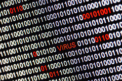 Closeup of binary code infected by virus. Stock Photo