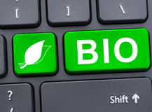 Closeup of bio button on computer keyboard Stock Photography