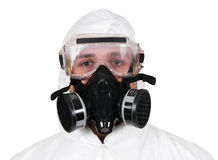 Closeup of Bio-Hazard Man. A studio closeup of a bio hazard materials man on a white background Stock Images