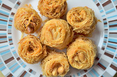Closeup of birds nest baklava dessert Royalty Free Stock Photo