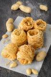 Closeup of birds nest baklava dessert with peanuts Royalty Free Stock Photography