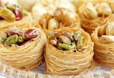 Closeup of birds nest baklava with pistachios Royalty Free Stock Photo