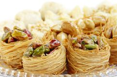 Closeup of birds nest baklava stock image