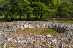 Closeup birdview of grave circle at Clava Cairns. Inverness, Scotland - June 2, 2012: Grave site heap of gray stones at prehistoric Clava Cairns. Stones form Stock Image