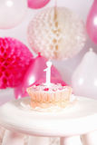 Closeup of a birthday cake Stock Image