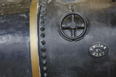 Closeup of Black Antique Steam Engine Tank Royalty Free Stock Images