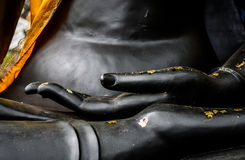 Closeup black Buddha hand. Hand of black Buddha with bits of gold leaf attached Stock Images