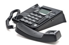 Closeup of a black business telephone Royalty Free Stock Image