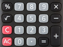 Closeup of black calculator keyboard. Front view royalty free stock photography