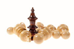 Closeup of Black Chess Queen. Standing in Front of Falling White Pawns Stock Images