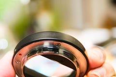 Closeup the black extender lens 16 mm Stock Photo