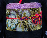 Closeup of a Black Japanese Kimono Dress Royalty Free Stock Photo