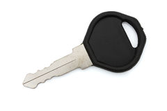 Closeup of a black key isolated on white Stock Photo