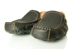 Closeup of black mens shoes moccasins Royalty Free Stock Photos