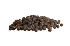 Closeup of black pepper. Isolated on white stock photos