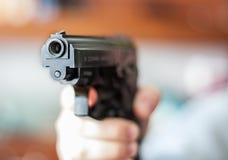 Closeup of black pistol stock image