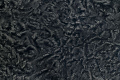 Closeup of black sheepskin fur Stock Photo