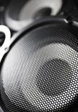 Closeup of a black speaker sub woofer. Macro image. Shallow DOF stock photos