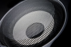 Closeup of a black speaker sub woofer Stock Image