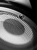 Closeup of a black speaker sub woofer. Macro image. Shallow DOF stock image