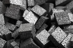 Closeup black styrofoam pellets royalty free stock photo
