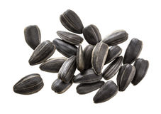 Closeup of black sunflower seeds isolated on white background. Pile of sunflower seeds. Stock Photos