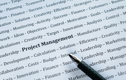 Closeup of Word Project Management with related Words. Closeup of of black and white background, with inspiration work related words include Project Management stock image