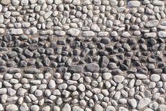 Closeup of black and white big pebble rocks. Rows of black and white big pebble rocks Stock Image