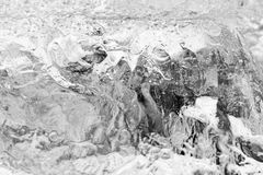 Closeup black and white ice texture. Stock Photography