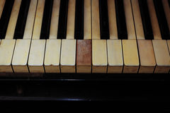 Closeup of black and white piano keys and wood Stock Photo