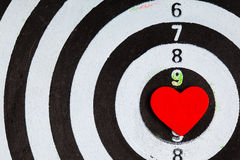 Closeup black white target with heart bullseye as love background Royalty Free Stock Photography