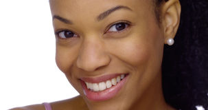 Closeup of black woman smiling Stock Photo