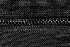 Closeup black zipper with canvas texture Royalty Free Stock Photo