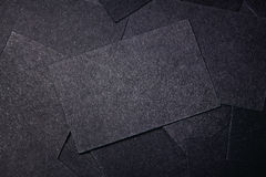 Closeup of blank black business cards. Horizontal Royalty Free Stock Images