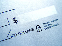 Closeup of Blank Check Royalty Free Stock Photos