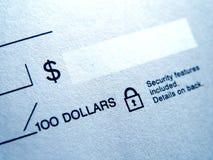 Closeup of Blank Check. Macro of Blank check Royalty Free Stock Photos