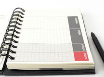 Closeup blank diary planner with pen Royalty Free Stock Photo