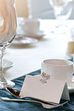 Closeup of blank placecard on wedding table Royalty Free Stock Photo