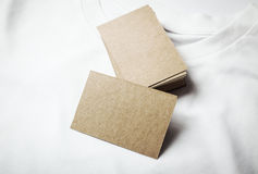Closeup of blanks craft business cards on white Stock Image
