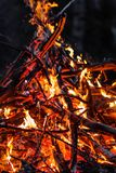 Blazing branches and firewood at night Stock Images