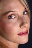 Closeup of blond face Stock Photos