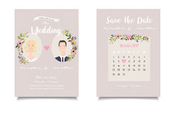 Closeup of blonde bride and chestnut groom on  wedding invitatio Royalty Free Stock Photos