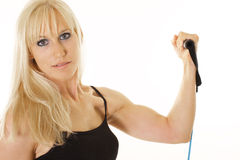 Closeup of blonde exercising Royalty Free Stock Photography
