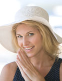 Closeup blonde lady smiling. And happy Royalty Free Stock Photography